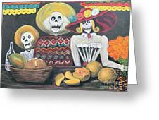 Day Of The Dead Family Greeting Card by Sonia Flores Ruiz
