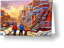Debullion Street Winter Walk Greeting Card by Carole Spandau