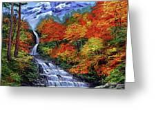 Deep Falls in Autumn Greeting Card by David Lloyd Glover