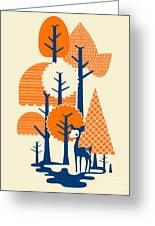 Deer Forester Greeting Card by Budi Satria Kwan