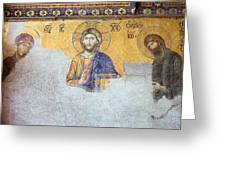 Deesis Mosaic Of Jesus Christ Greeting Card by Artur Bogacki