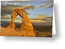 Delicate Arch At Sunset Greeting Card by Adam Romanowicz