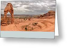 Delicate Arch Panoramic Greeting Card by Adam Romanowicz