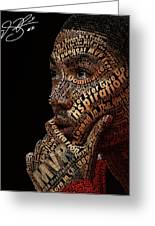 Derrick Rose Typeface Portrait Greeting Card by Dominique Capers