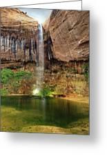 Desert Waterfall Oasis Greeting Card by Leland D Howard