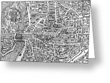 Detail From A Map Of Paris In The Reign Of Henri II Showing The Quartier Des Ecoles Greeting Card by French School