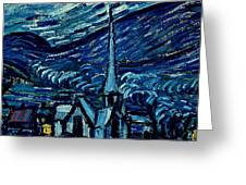 Detail Of The Starry Night Greeting Card by Vincent Van Gogh