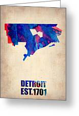 Detroit Watercolor Map Greeting Card by Naxart Studio