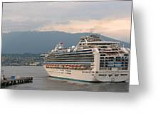 Diamond Princess Leaving Vancouver British Columbia Canada Greeting Card by Christine Till