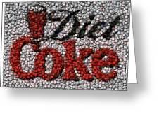 Diet Coke Bottle Cap Mosaic Greeting Card by Paul Van Scott