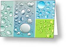 Different Size Droplets On Colored Surface Greeting Card by Sandra Cunningham