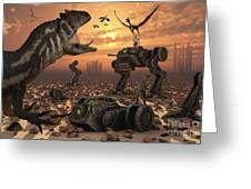 Dinosaurs And Robots Fight A War Greeting Card by Mark Stevenson