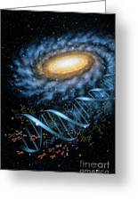 Dna Galaxy Greeting Card by Lynette Cook