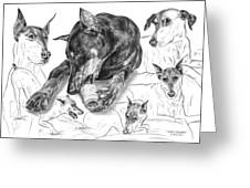Dober-thoughts - Doberman Pinscher Montage Greeting Card by Kelli Swan