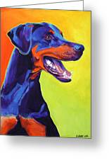 Doberman - Miracle Greeting Card by Alicia VanNoy Call