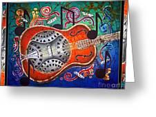 Dobro - Slide Guitar-bordered Greeting Card by Sue Duda