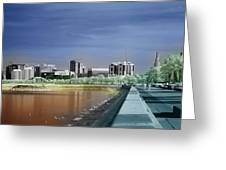 Doha Corniche in infra-red Greeting Card by Paul Cowan