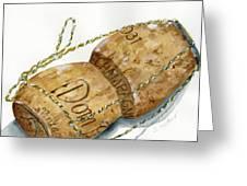 Dom Perignon Cork Greeting Card by Sheryl Heatherly Hawkins