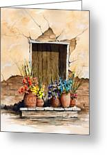 Door With Flower Pots Greeting Card by Sam Sidders