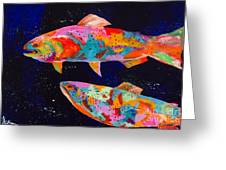 Dos Brown Trout Greeting Card by Tracy Miller