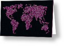 Dot Map Of The World - Pink Greeting Card by Michael Tompsett