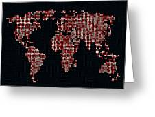 Dot Map of the World - red Greeting Card by Michael Tompsett