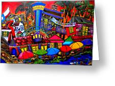 Downtown Attractions Greeting Card by Patti Schermerhorn