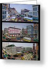 Downtown Portsmouth 1948 Greeting Card by Frank Hunter