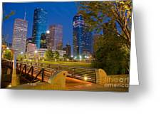 Dowtown Houston By Night Greeting Card by Olivier Steiner