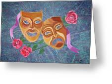 Drama Masks Greeting Card by John Keaton