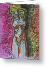 Drawing Of A Woman Greeting Card by B and C Art Shop