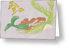 Dreaming Mermaid Greeting Card by Rosalie Scanlon