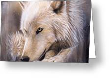 Dreamscape - Wolf Greeting Card by Sandi Baker