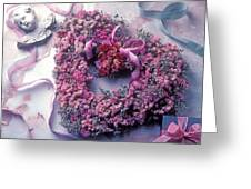 Dried flower heart wreath Greeting Card by Garry Gay