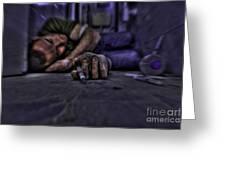 Drug Addict Shooting Up Greeting Card by Guy Viner