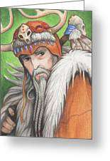 Druid Priest Greeting Card by Amy S Turner