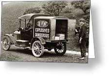 Du Pont Co. Explosives Truck Pennsylvania Coal Fields 1916 Greeting Card by Arthur Miller
