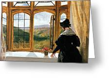 Duchess of Abercorn looking out of a window Greeting Card by Sir Edwin Landseer