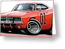 Dukes Of Hazzard General Lee Greeting Card by Maddmax