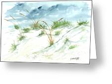 Dunes 3 Seascape Beach Painting Print Greeting Card by Derek Mccrea