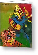 Durga Greeting Card by Abdus Salam