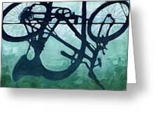 Dusk Shadows - Bicycle Art Greeting Card by Linda Apple