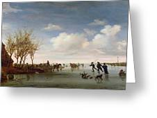 Dutch Landscape With Skaters Greeting Card by Salomon van Ruysdael