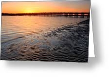 Duxbury Beach Powder Point Bridge Sunset Greeting Card by John Burk