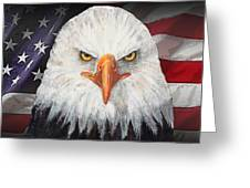 Eagle And The Flag Greeting Card by Arline Wagner