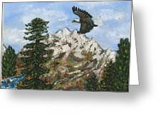 Eagle To Eaglets In Nest Greeting Card by Tanna Lee M Wells