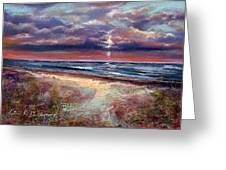 Early September Beach Greeting Card by Peter R Davidson