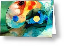 Earth Balance - Yin And Yang Art Greeting Card by Sharon Cummings