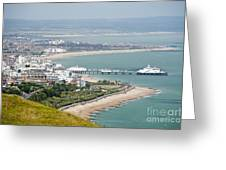 Eastbourne From Beachy Head Sussex Uk Greeting Card by Donald Davis