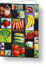 Eat Your Vegies And Fruit Greeting Card by John Lautermilch